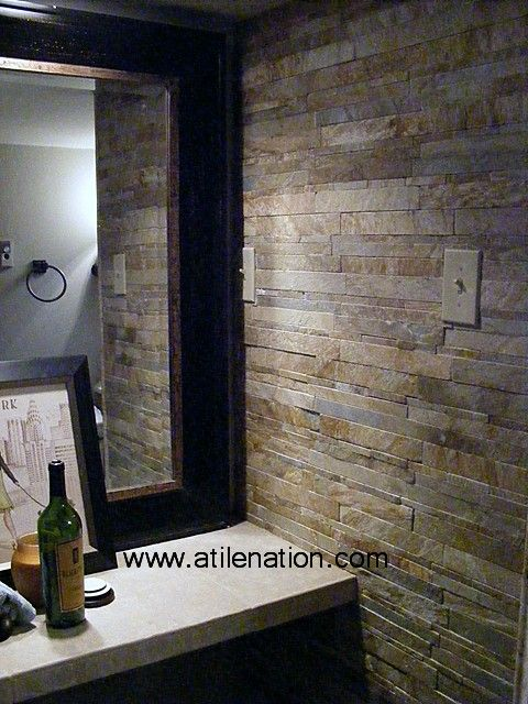 Large frame stacked stone sides bathroom ideas pinterest for Stacked stone bathroom ideas