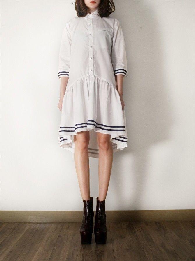 FLEAMADONNA white cotton unbalanced dress