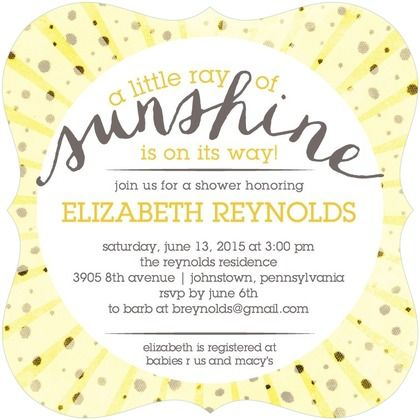 A Little Sunshine - Baby Shower Invitations - Sarah Hawkins Designs - Sunflower - Yellow : Front