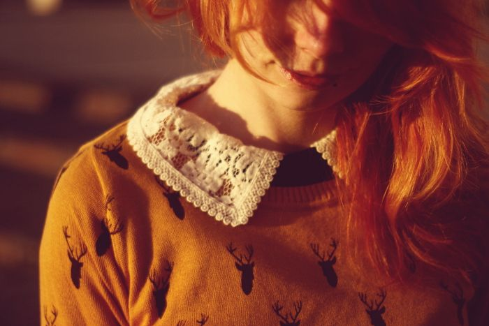 mustard sweater and collar