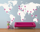 Map wall - mark places where you've been. Awesome!!