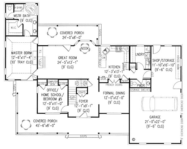 Country Farmhouse House Plan 96828