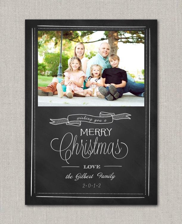 Chalkboard christmas photo card for Chalkboard christmas cards