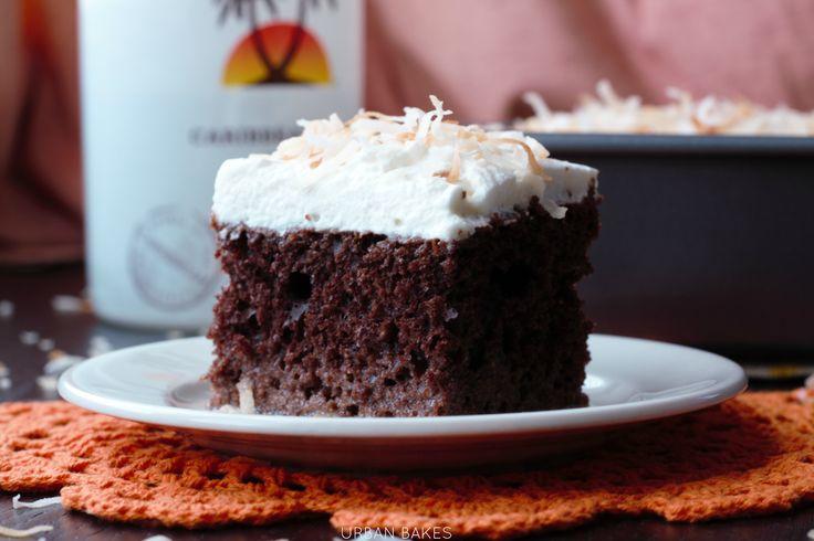 Chocolate Coconut Malibu Rum Cake made with box cake mix