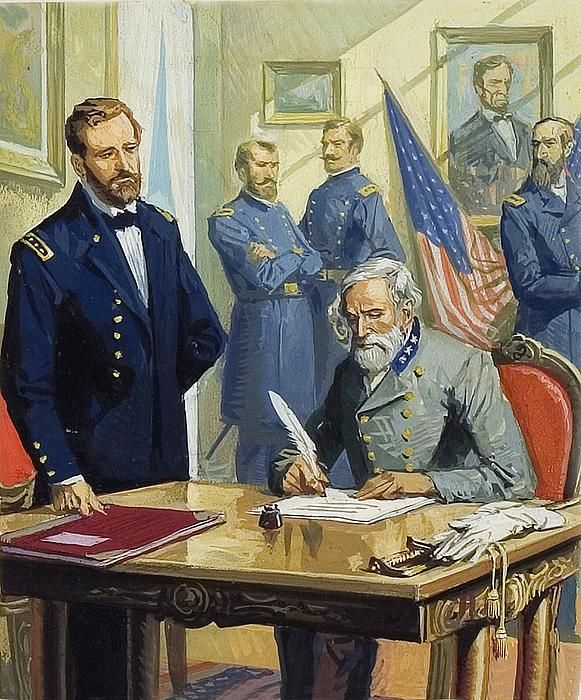 General Ulysses Grant accepting surrender of General Lee.~Severino Baraldi