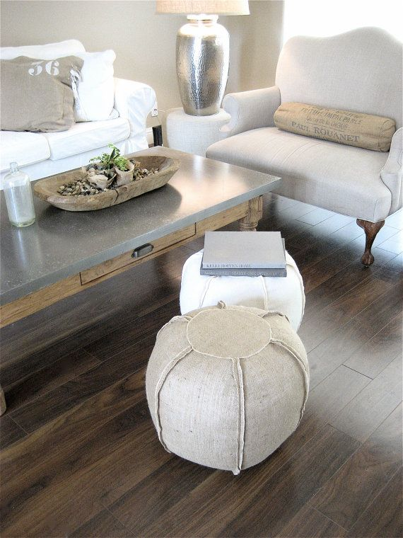 Ottoman poufs to go with one of my living room chairs... Burlap Pouf ...