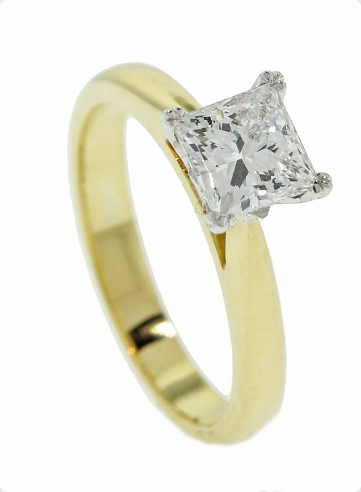Yellow gold princess cut ring - Brisbane Jeweller - Engagement Rings ...