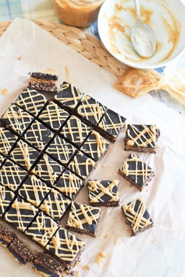 triple-decker-peanut-butter squares (date paste and protein w/ coconut ...