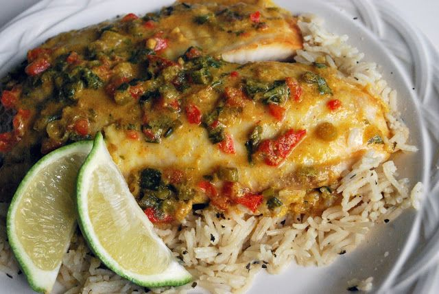 Broiled Tilapia with Thai Coconut Curry Sauce with Basmati Basil Rice