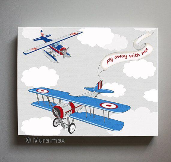 Vintage airplane boys wall art airplane canvas art boys for Airplane wall decoration