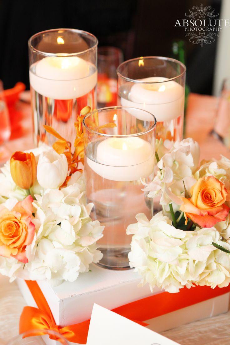 Orange Candle Wedding Centerpiece Flowers By A Stylish Soiree