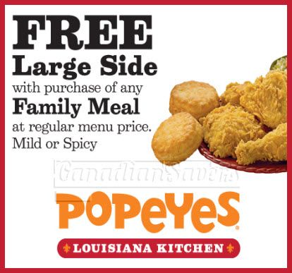 Popeyes family meal coupons