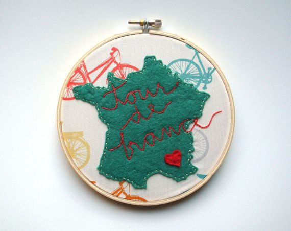 Tour de france art bike art bicycle art embroidery hoop art. $50,00, via Etsy.
