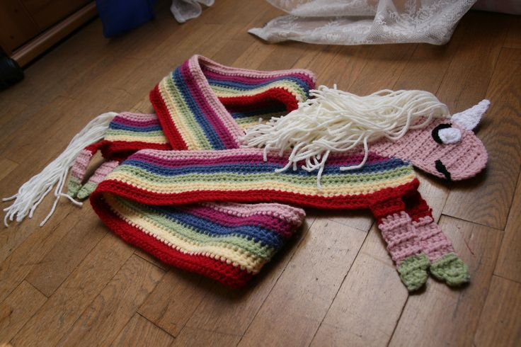 Crocheted rainbow unicorn scarf .:Scarves, Infinities, Cowls:. Pi ...