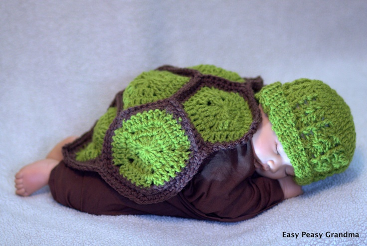 Free Crochet Pattern Turtle Photo Prop : CROCHET PATTERN - turtle, shell, hat, beanie, baby, photo ...