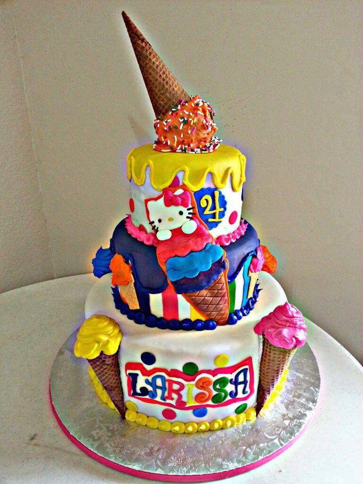 Ice Cream Themed Cake : - *Hello Kitty Ice Cream Cake Theme Birthday party ideas ...