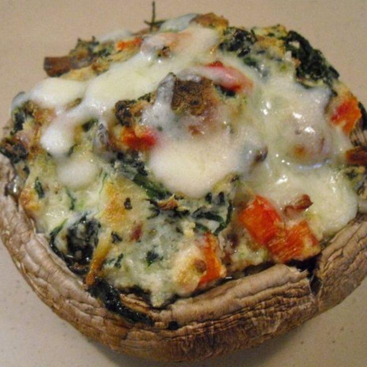 Spinach & Ricotta Stuffed Portobello Mushrooms Recipe | Just A Pinch ...