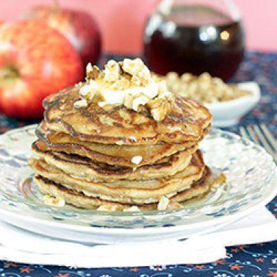 Cinnamon Apple Walnut Pancakes Recipe — Dishmaps