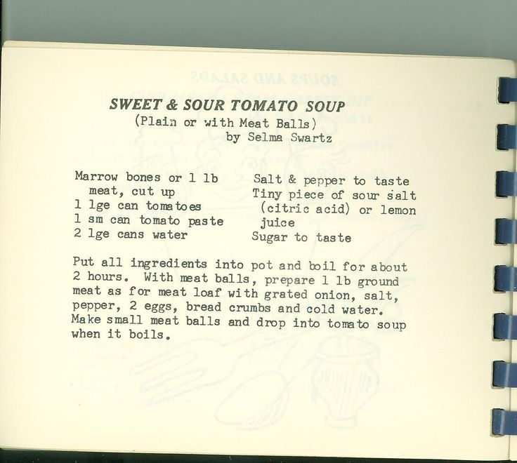 """Recipe for Sweet and Sour Soup. From """"Eating Pleasure by Sisterhood Measure"""" (Shaare Tefila, Washington D.C., 1958)"""