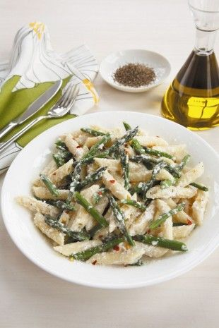 Penne and Asparagus with Ricotta Cheese | Kiss the cook | Pinterest