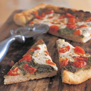 Pesto and Cherry Tomato Pizza | Feasts | Pinterest