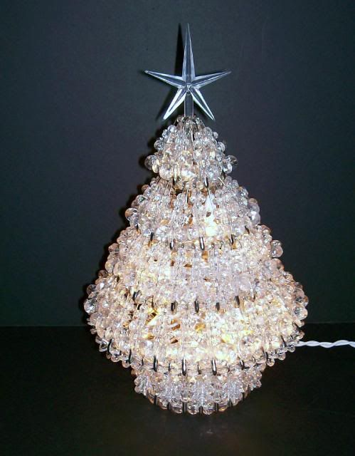 Safety pin crystal clear bead christmas tree 11 quot lights vintage 50 s