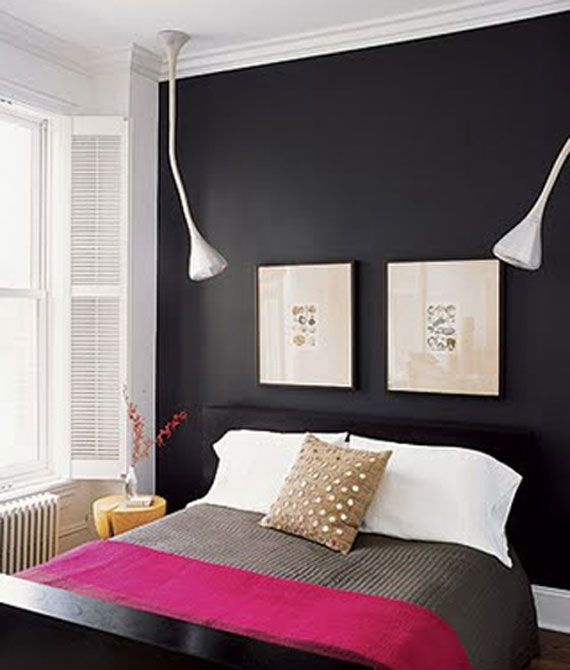 Accent wall in bedroom black paint pinterest for Black painted bedroom