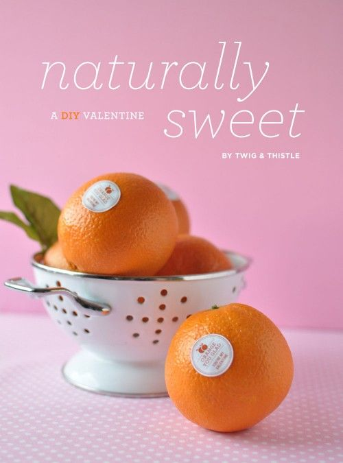 "This is way too cute! Make stickers like ""Orange you glad you're my Valentine"" and share conversation fruit instead of conversation hearts. Works with pears, bananas, apples.