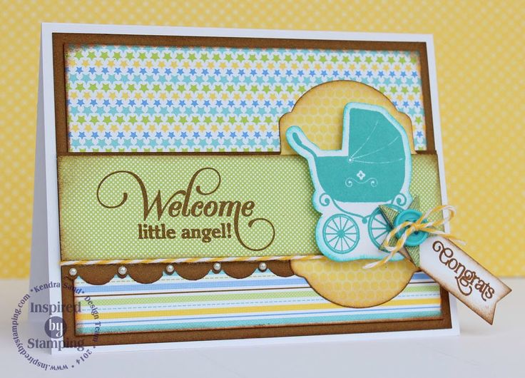Inspired by Stamping, Oh Baby! stamp set, Big Notes III, Cute Circles, Fancy Labels 2 Die, Fancy Labels 3 Die, Kendra Sand, baby card