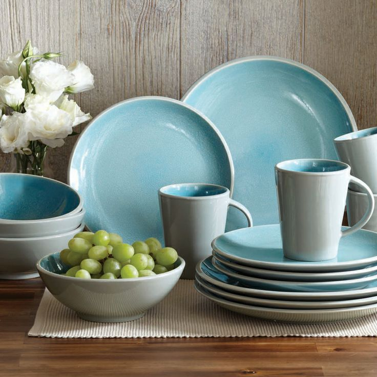 Better Homes And Gardens 16 Piece Dinnerware Set Aqua