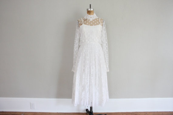 1970s Vintage Wedding Dress in Sheer Lace  Gunne by adVintagous, $75.00