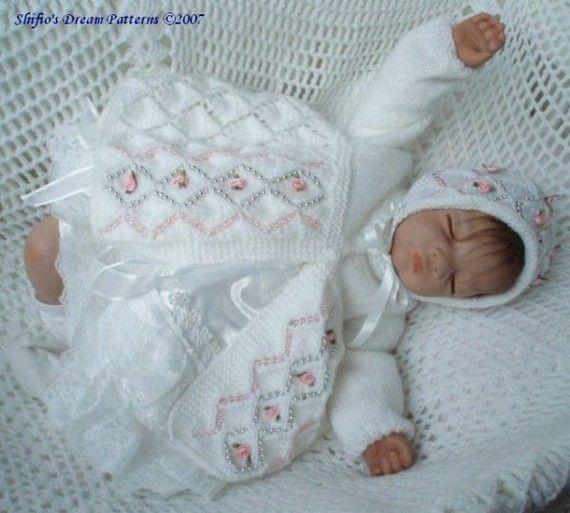 Baby Knitting Pattern Diamond Matinee jacket Hat, Knitting Pattern 2 ... Imag...