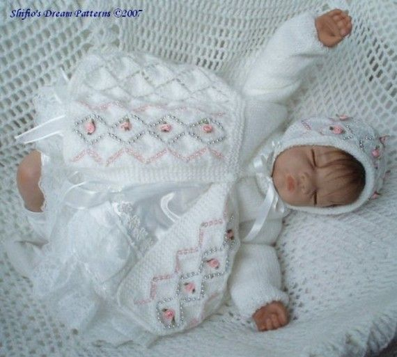 Knitting Patterns For Babies Matinee Coats : Baby Knitting Pattern Diamond Matinee jacket Hat, Knitting Pattern 2 ... Imag...