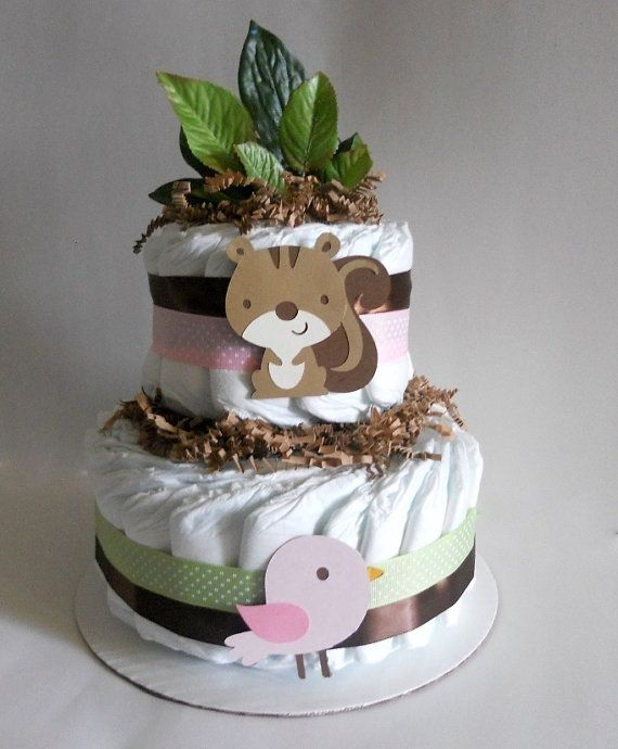 woodland baby shower diaper cake