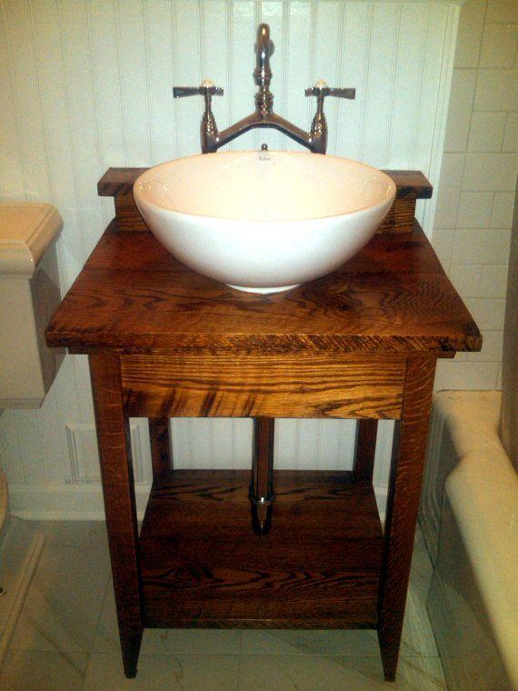 Rustic Bathroom Vanities : Rustic Bathroom Vanity from Reclaimed Antique Oak