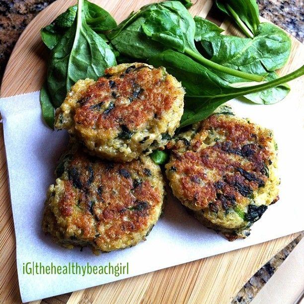 Quinoa Spinach {or Kale} Patties: 1 C cooked quinoa, 4 eggs beaten, 1 ...
