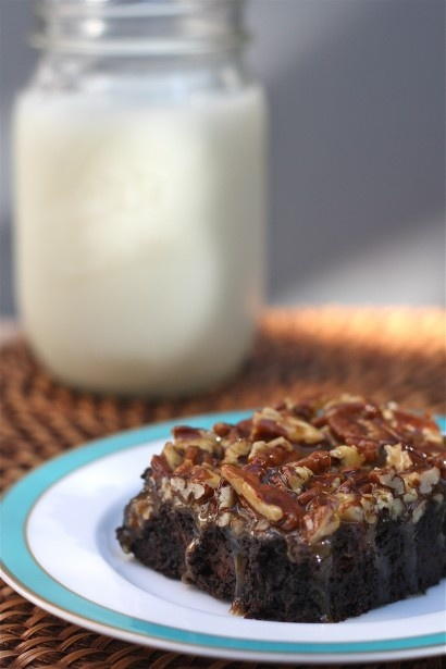 Pecan Turtle Black Cocoa Brownies   Recipe