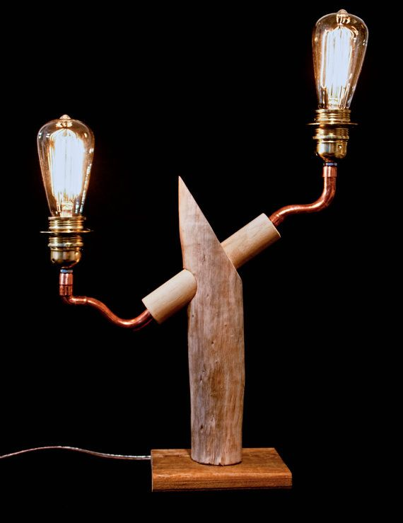 Copper    Driftwood Table Lamp, Reclaimed Wood Lamp, Steampunk Lamp, E u2026