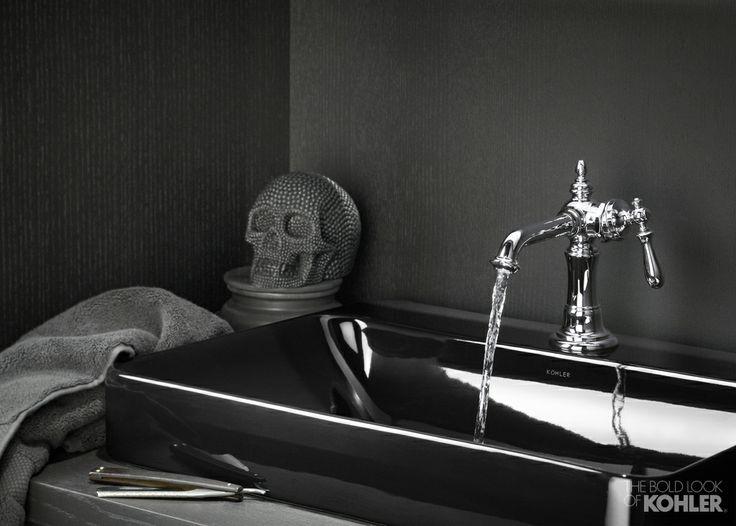 Skull Bathroom Sink : black bathroom, skull decor, black sink, black bathroom sink, # ...