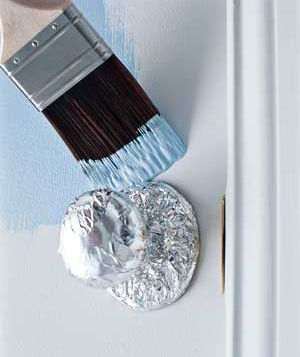 Aluminum foil as fixture protector - the foil molds to the shape of whatever it's covering and stays firmly in place until the job is complete. Brilliant!