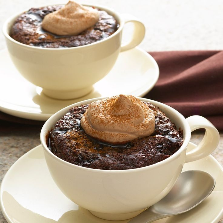 """Mexican Hot Chocolate """"Cup"""" Cakes with Cocoa Whipped Cream 