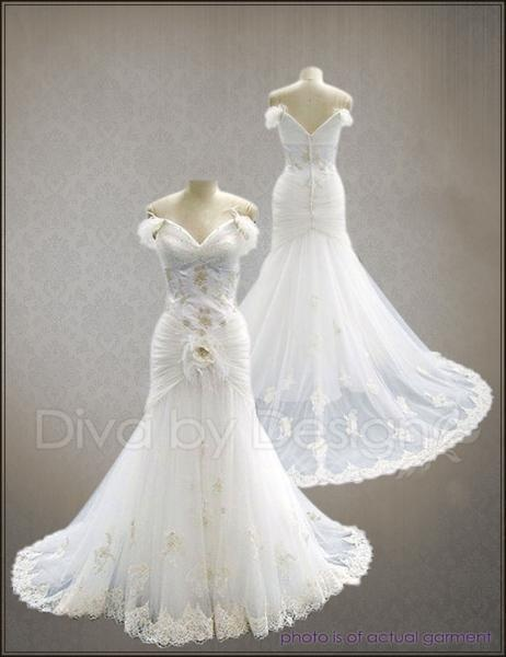 Off Shoulder 40s Vintage Lace Wedding Dresses 1940 Bridal Gowns Dress Gown Sku# LVSI-VW60084