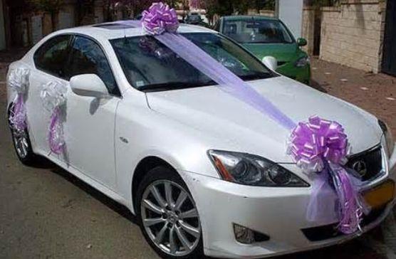 ribbon wedding car