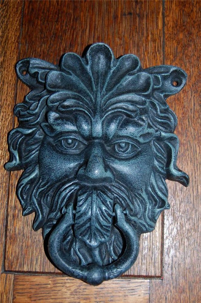 Huge antique style cast iron green man door knocker etc gargoyle celt - Green man door knocker ...