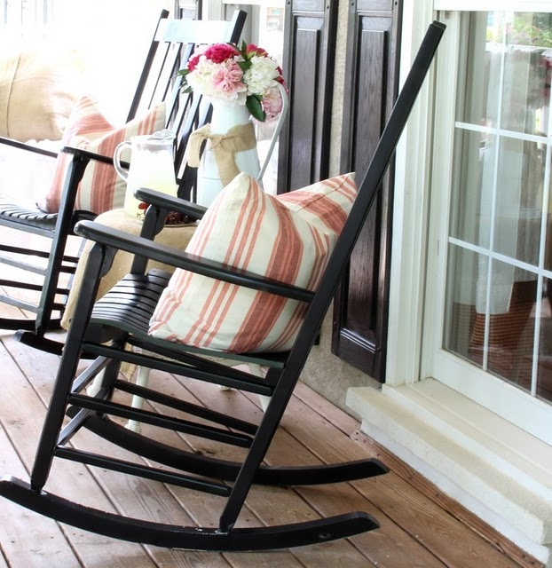 Black rocking chairs & shutters  Little Apple home  Pinterest