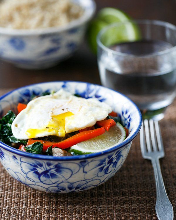 Healthy Rice Bowl with Kale, Red Pepper and Egg | Recipe