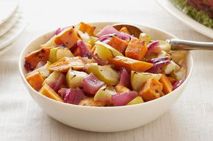 Balsamic Roasted Sweet Potatoes & Apples recipe - I would line the pan ...