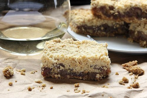 Wine & Date Crumble Bars by Peaceful Bend Winery.