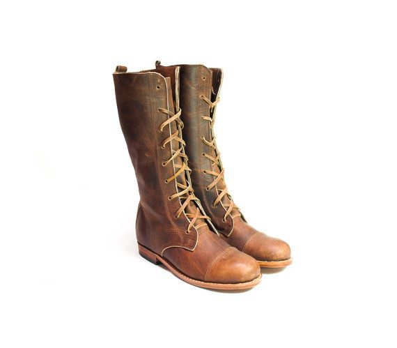 s handmade boots in conker leather