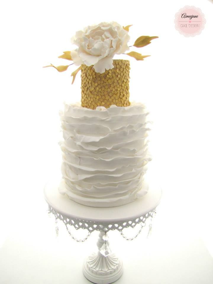 Gold Sequin Cake Decoration : Ruffles & Gold Sequin Cake cake decorating Pinterest